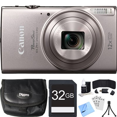 PowerShot ELPH 360 HS Silver Digital Camera w/ 12x Optical Zoom 32GB Card Bundle