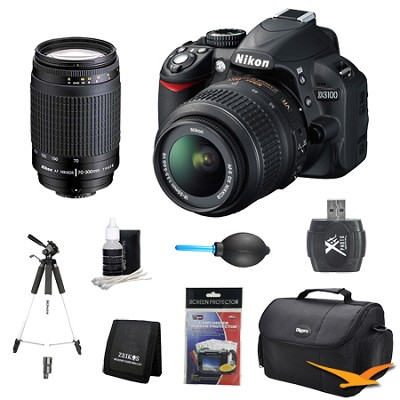 D3100 14MP DX-format Digital SLR w/ 18-55mm and 70-300mm (MANUAL FOCUS) Lens Kit