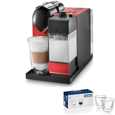 Lattissima Capsule Espresso/Cappuccino Machine (Red) 2 Glass Bundle