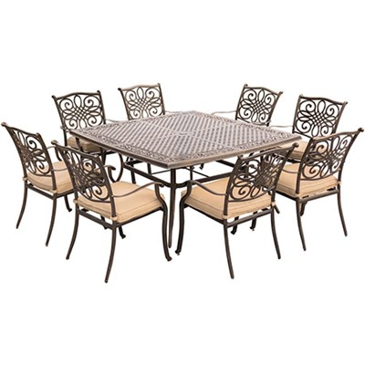 Traditions 9-Piece Dinning Set with 60` Square Table - TRADDN9PCSQ