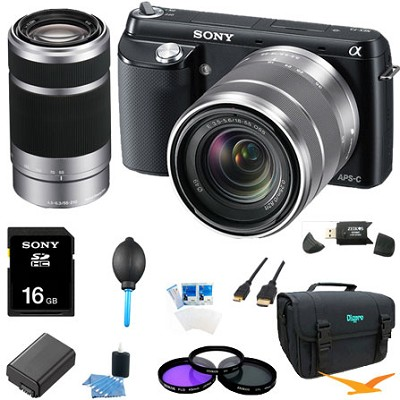 NEX-F3K Camera built in flash with 18-55, 55-210 Ultimate Bundle  (Black)
