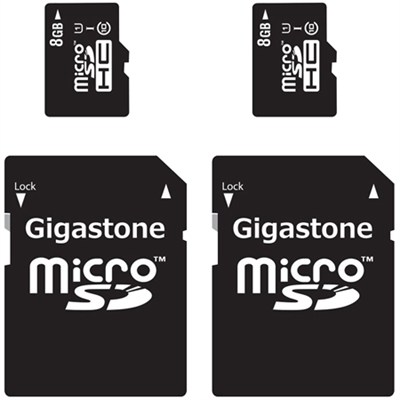 MicroSD HC 8GB C10 U1 With SD Adapter 2-Pack Bundle