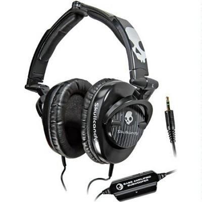 SCS-SCBP3.5 Skullcrushers Subwoofer Stereo Headphones (Black Pinstripe)
