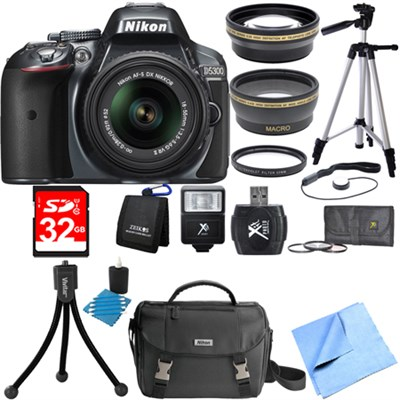 D5300 DX-Format Digital SLR Grey with 18-55mm DX VR II Lens Deluxe Bundle