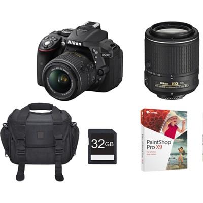 D5300 24.2 MP DSLR with 18-55 & 55-200 VR II Lenses Bundle (Factory Refurbished)