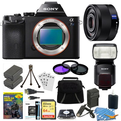ILCE-7S/B a7S Full Frame Camera, 35mm Lens, 64GB Card, 2 Batteries, Flash Bundle