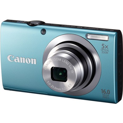 PowerShot A2400 IS 16MP Blue Digital Camera 5x Optical Zoom 720p HD Video