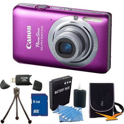 PowerShot ELPH 100 HS Pink Digital Camera 8GB Bundle