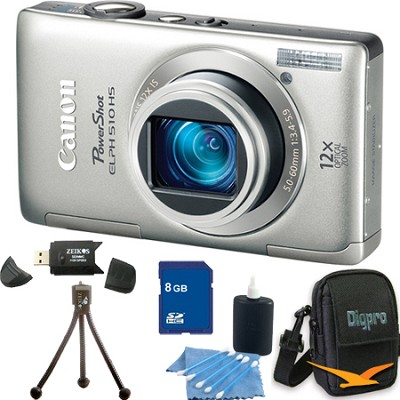 PowerShot ELPH 510 HS Silver Digital Camera 8GB Bundle