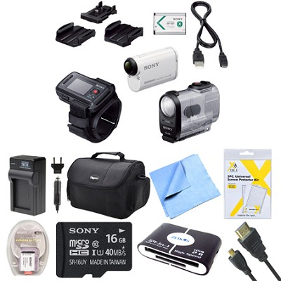 HDR-AS200VR/W Action Cam Kit with Live View Remote Bundle