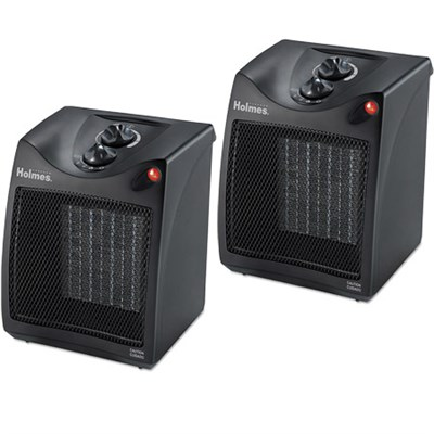 2 Pack Compact Ceramic Heater with Adjustable Thermostat Kit - HCH4051-UM