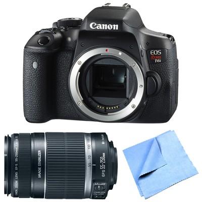 EOS Rebel T6i Digital SLR Camera Body with 55-250mm Telephoto Lens Bundle