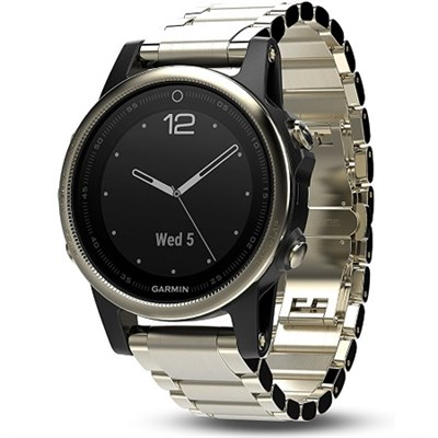 Fenix 5S Sapphire Multisport 42mm GPS Watch - Champagne with Metal Band