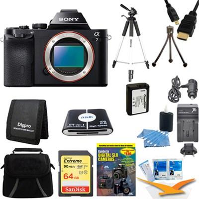 Alpha 7 a7 Digital Camera 64 GB SDHC Card Battery and Tripod Bundle
