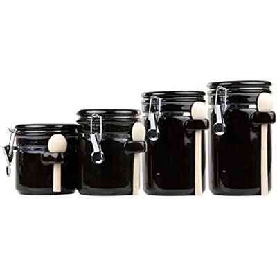 CS44153 4PC Ceramic Canister Set W/Spoon (Black)