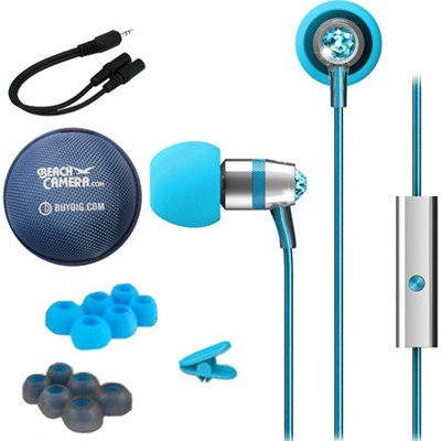 Crystal In-Ear Headphones w/ Microphone Turquoise w/ Case Bundle