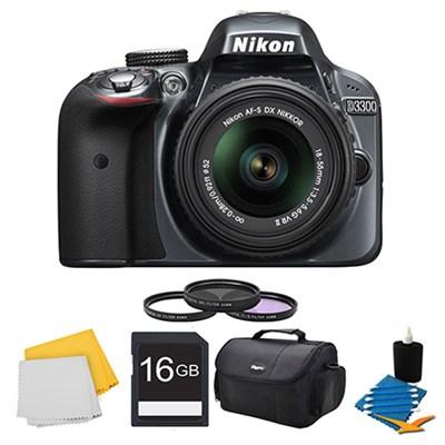 D3300 DSLR HD Grey Camera, 18-55mm Lens, 16GB Card, Case, and Filter Bundle