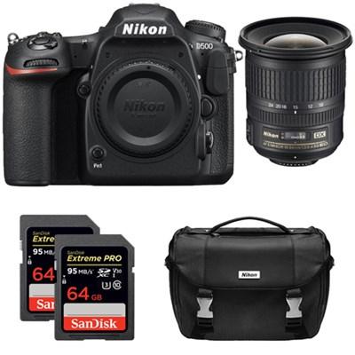 D500 CMOS DX DSLR Camera w/ 4K Video (Body) + 10-24mm ED NIKKOR Lens Kit
