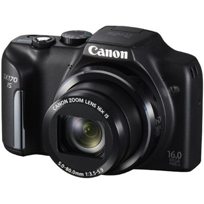 PowerShot SX170 IS 16MP Digital Camera with 16X Optical Zoom - Black - OPEN BOX