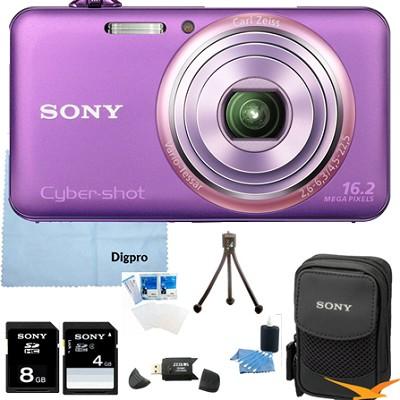 DSC-WX70/V - 16.2MP Exmor R CMOS Camera 3` LCD 5x Zoom (Violet) 8GB Bundle