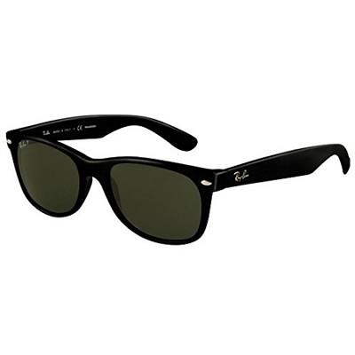 New Wayfarer Black Frame, Polarized Green Lens 55mm Sunglasses