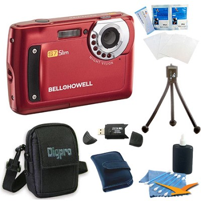 S7 Night Vision Slim 12.2 MP Red Digital Camera Bundle