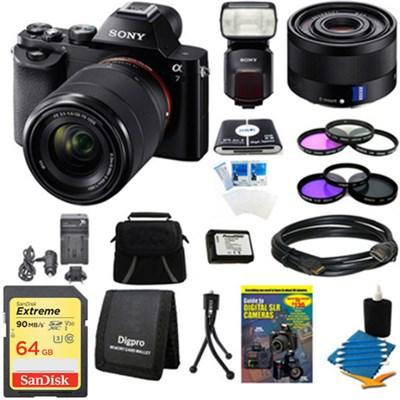 Alpha 7K a7K Digital Camera, 35mm Full Frame Lens and HVL-F60M Flash Bundle