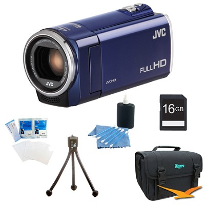 GZ-E100AUS - HD Everio Camcorder 40x Zoom f1.8 (Blue) with 16GB Bundle