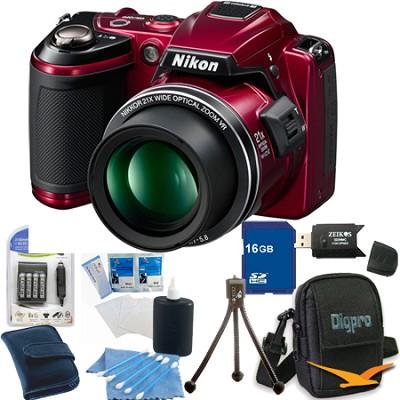 COOLPIX L120 Red Digital Camera 16GB Bundle