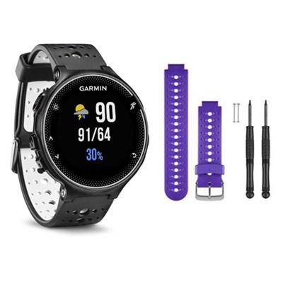 Forerunner 230 GPS Running Watch, Black and White - Purple Watch Band Bundle