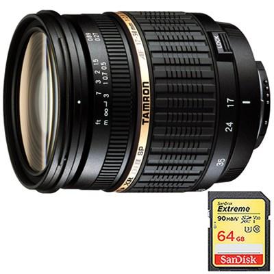 17-50mm f/2.8 XR Di-II LD SP AF Zoom Lens for Canon EOS w/ 64GB Memory Card