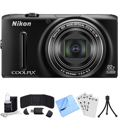 COOLPIX S9500 18.1 MP 22x Zoom Wi-Fi Digital Camera (Black) Refurbished Bundle