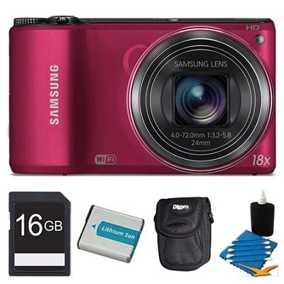WB200F 14.2 MP BSI CMOS 18x Opt Zoom Digital Camera Red 16GB Kit