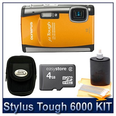 Stylus Tough 6000 10MP 2.7` LCD Digital Camera (Orange) Super Savings Kit