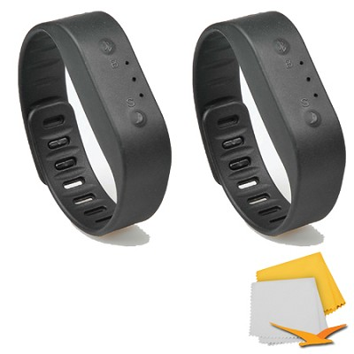 Bluetooth Activity Tracker Sports Bracelet 2-Pack Bundle - Black