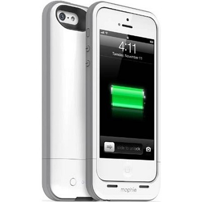 Juice Pack Plus Rechargeable External 2100mAh Battery Case for iPhone 5 (White)