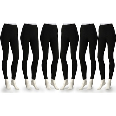 6-Pack Fleece Lined Leggings Midnight Black Regular Size ( M/L )