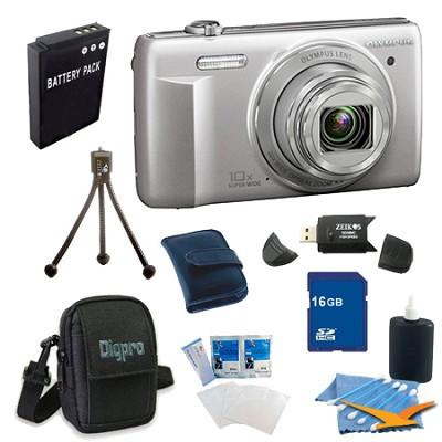 16 GB Kit VR-340 16MP 10x Opt Zoom 3-inch LCD Digital Camera - Silver