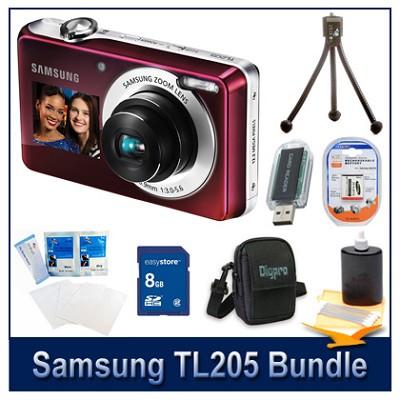 TL205 Digital Camera Pink Kit w/ 8GB Memory, Reader, Case, Tripod & More