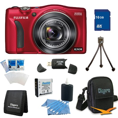FinePix F750EXR 16MP EXR CMOS Digital Camera 16 GB Bundle (Red)