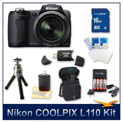 COOLPIX L110 Digital Camera (Matte Black) Kit w/ 16GB Card