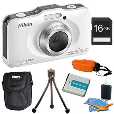 COOLPIX S31 10.1MP 720p HD Video Waterproof Digital Camera - White Plus 16GB Kit