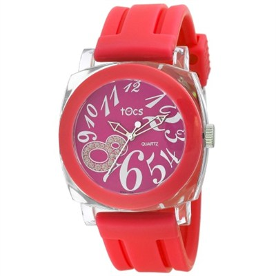 `Crystal 8` Analog Round Watch Red - 40320