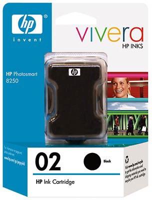 HP 02 Black Ink Cartridge with Vivera Ink