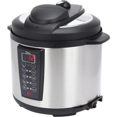 6-Quart Pressure Cooker in Black with Stainless Steel Inner Pot (OPEN BOX)