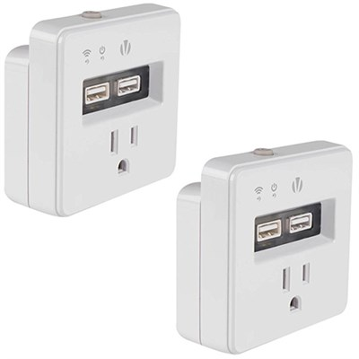 Wi-Fi Home Automation Smart Plug With Dual USB HA-1001 2 Pack
