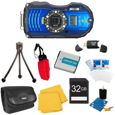 WG-4 16MP HD 1080p Waterproof Digital Camera Blue 32 GB Kit