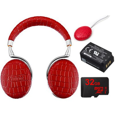 Zik 3 Wireless Noise Cancelling Bluetooth Headphones Ultimate Bundle (Red Croc)