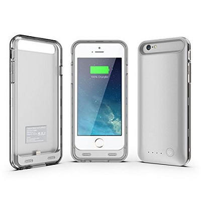ArmorLite iPhone 6 Battery Charger Hard Case 2400 mAh - Silver/Clear