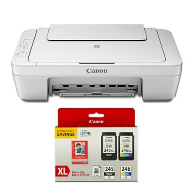 Pixma MG2924 Wireless-MP Inkjet Photo All-In-One White Printer Ink/Paper Bundle
